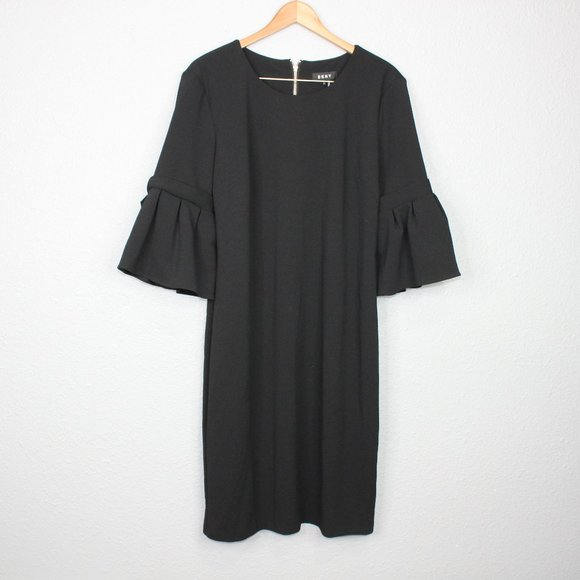 Dkny Dresses & Skirts - DKNY Black Ruffled Sleeve Shift Dress sz 16